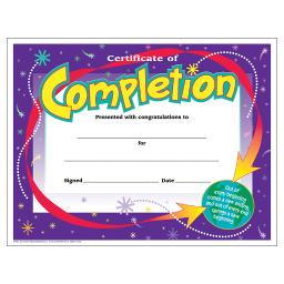 Trend (6 pk) certificate of completion