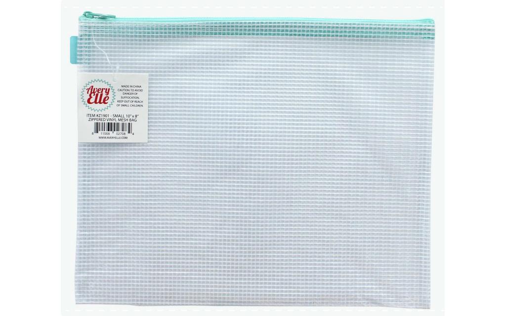 Avez 1901 avery elle zippered vinyl mesh pouch small aqua