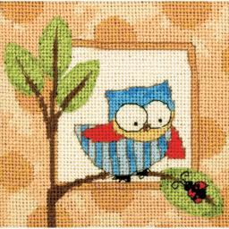 "Curious Owl Mini Needlepoint Kit-5""X5"" Stitched In Thread 71-07239"