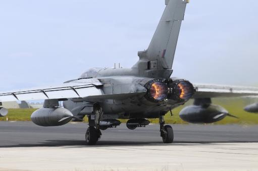 Tornado GR4 of the Royal Air Force taking off from the airbase at RAF Lossiemouth, Scotland Poster Print