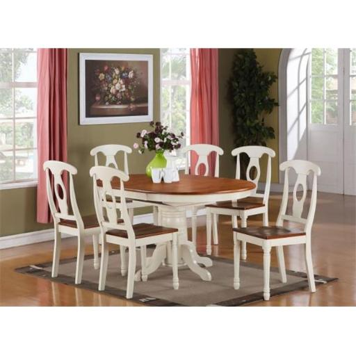 East West Furniture KENL7-WHI-W 7 Piece Dining Room Set For 6-Oval Dining Table and 6 Dining Chairs