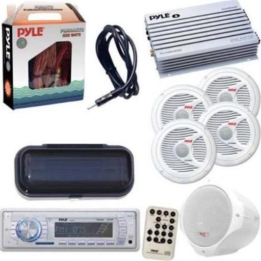 Pyle KTMRAK35WT 200W 6.5 in. Marine In-Dash Receiver with Two-Way White Wake Board Speakers