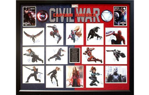Captain America - Civil War Cast Signed Photo Collage Poster in Framed Case ZK9TCEOWSSB1OJYA
