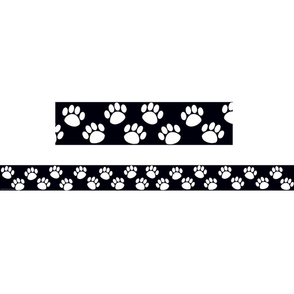 Teacher created resources black with white paw prints border 4642
