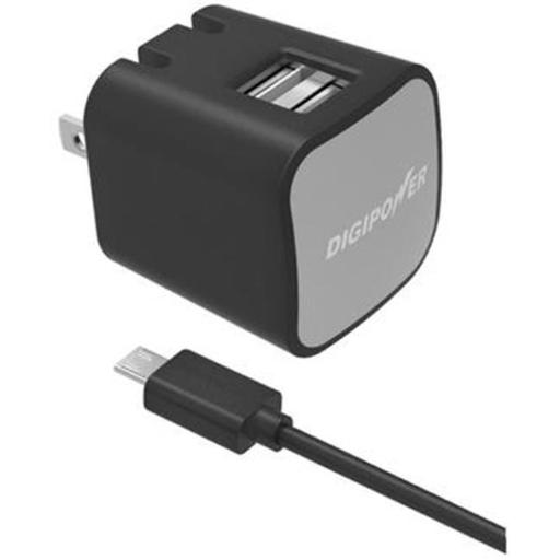 Digipower IS-AC2DM 2.4-Amp Dual-Port USB Wall Charger, Black