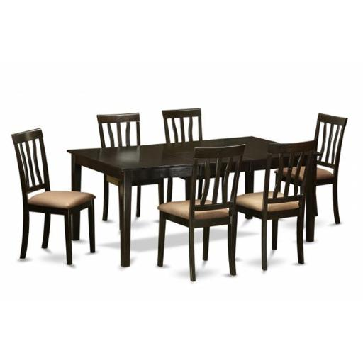 East West Furniture HEAN7-CAP-C 7 Piece Dining Set-Dining Table With Leaf and 6 Kitchen Chairs