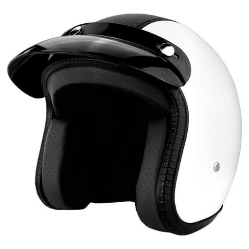 RS Helmets RS-8658-2-Small 3 by 4 Open Face Motorcycle Helmet with Visor White Leather with Black Stripe - Small OFUMAGUW0AOLM5PM