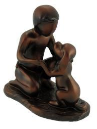A Boy and His Dog Bronzed Finish Statue