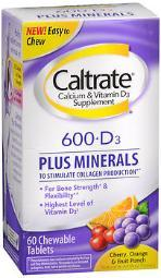 Caltrate 600+d3 Plus Minerals Chewable Tablets Cherry Orange & Fruit Punch - 60 Tablets