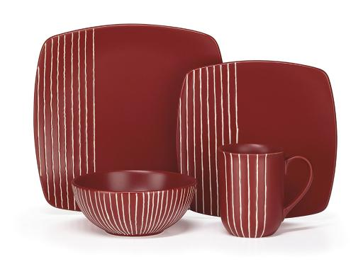 Cuisinart CDST1-S4R Stoneware Anet Collection 16-Piece Dinnerware Sets