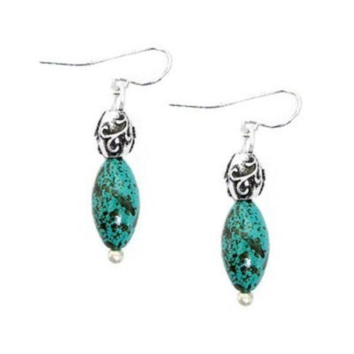 Turquoise Bead With Silver Metal Dangle Earrings