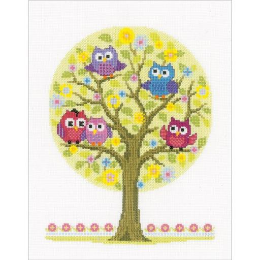 Vervaco V0146618 Little Owls Tree on Aida Counted Cross Stitch Kit, 9 x 11.75 in. - 14 Count