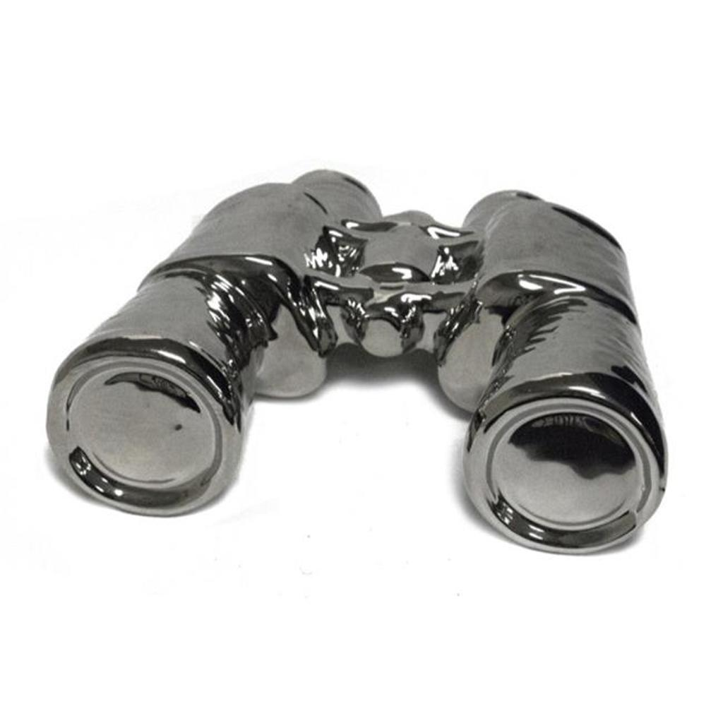 Benzara BM161564 Amazingly Designed Decorative Ceramic Binocular, Silver