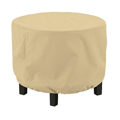 Classic Accessories 55-911-032001-EC Medium Ottoman & Side Table Round, Sand - Case of 12