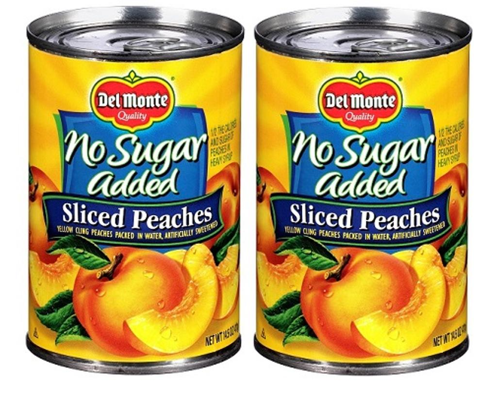 Del Monte No Sugar Added Sliced Peaches 2 Can Pack