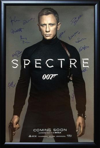 James Bond 007 Spectre Signed Movie Poster in Wood Frame with COA