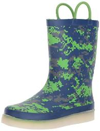Western Chief Kid's Rechargeable LED Rain Boot, Digital Camo 8 M US Toddler
