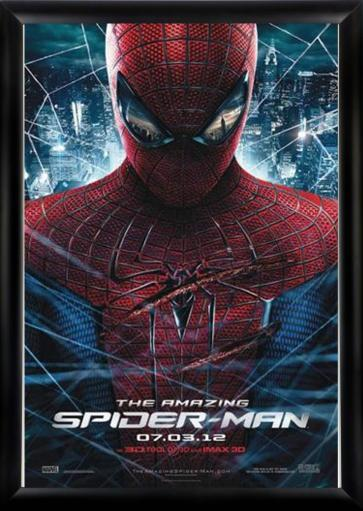 The Amazing Spider man - Signed Movie Poster in Wood Frame with COA