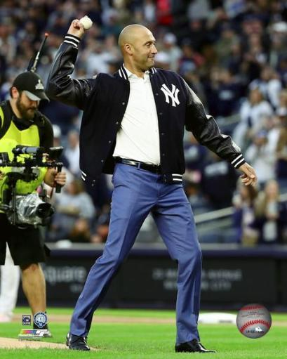 Derek Jeter throws out the ceremonial first pitch before the game before his number retirement ceremony at Yankee Stadium on May 14, 2017 Photo Print