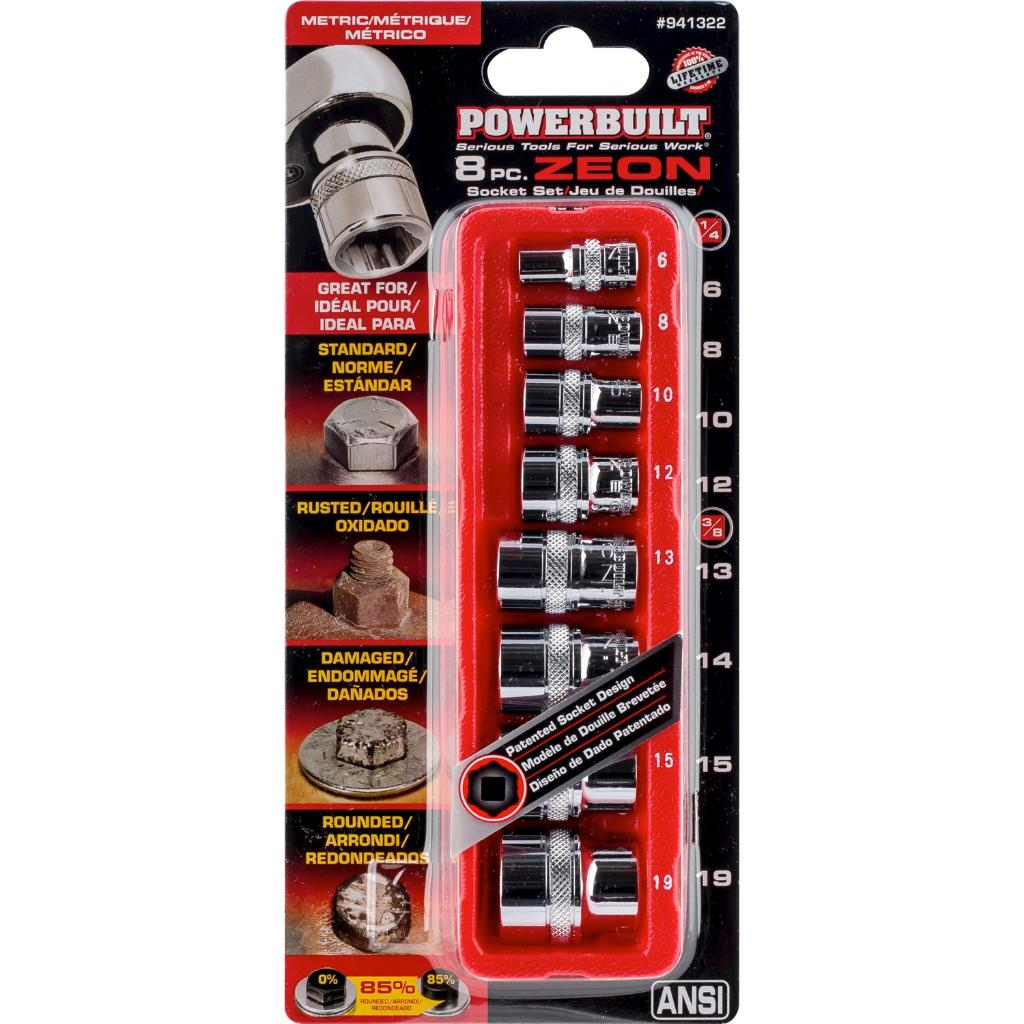 Powerbuilt 8 Pc Metric Zeon Socket Set Damaged Hex up to 85% Rounded - 941322