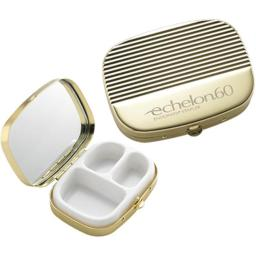 Aeropen International P-120g Shiny Gold Ribbed Cover With 3 Compartment Pill Box And Mirror