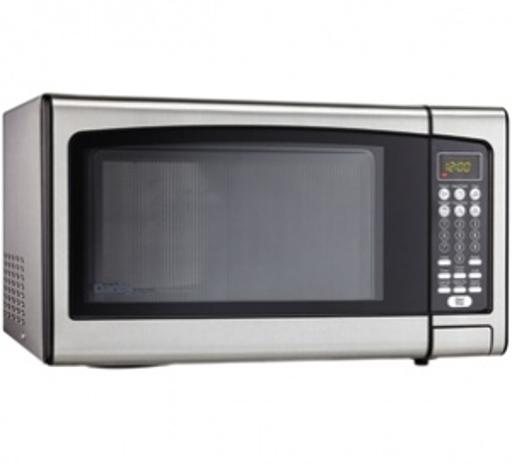 Danby Designer 1.1 cu. ft. Microwave Spacious 1.1 cu. ft. capacity microwave1000 watts of cooking powerDurable and stylish stainless steel interior and exterior10 Power levelsSimple one touch cooking for 6 popular uses (frozen dinner, beverage, popcorn, potato, pizza, reheat)3 specialty
