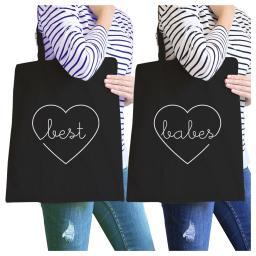 Best Babes Black BFF Matching Canvas Eco Bags Gifts For Friends