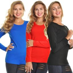 Angelina Lady's Fleece Lined Crew Neck Long Sleeves Thermal - Large (Black, Blue, Red)