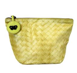 Bottega Veneta Women's Yellow Nylon Intrecciolusion Cosmetic Bag 301183 9441
