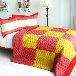 Anna love 3PC Vermicelli-Quilted Patchwork Quilt Set (Full/Queen Size)