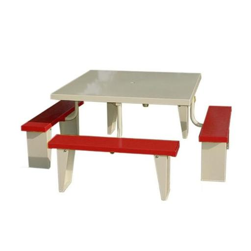 Prairie View PIC4848-R 8 Seats Aluminum Square Picnic Table, Red - 30 x 72 x 72 in.