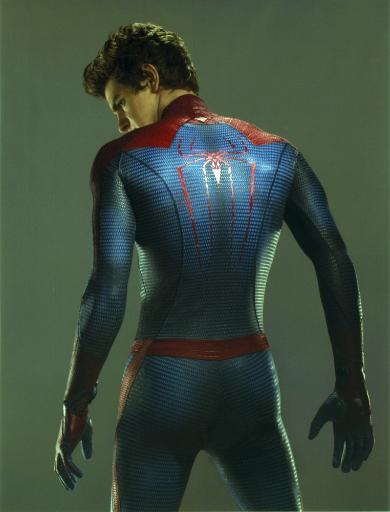 Andrew Garfield in a Spiderman Costume Looking Back in Gray Background Photo Print UKYBGJVQAZTRUYBG