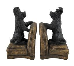 Set of 2 Perky Scottish Terrier Dogs On Armchairs Bookends