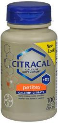 Citracal Calcium Citrate + D3 Coated Tablets Petites - 100 Ct, Pack Of 4