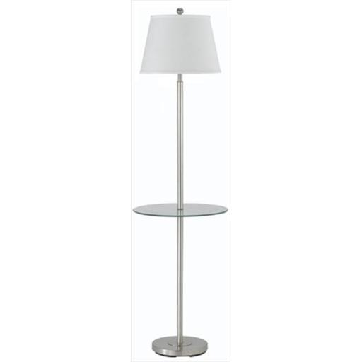 Cal Lighting BO-2077GT-BS 150 W 3 Way Andros Floor Lamp With Glass Tray, Brushed Steel Finish