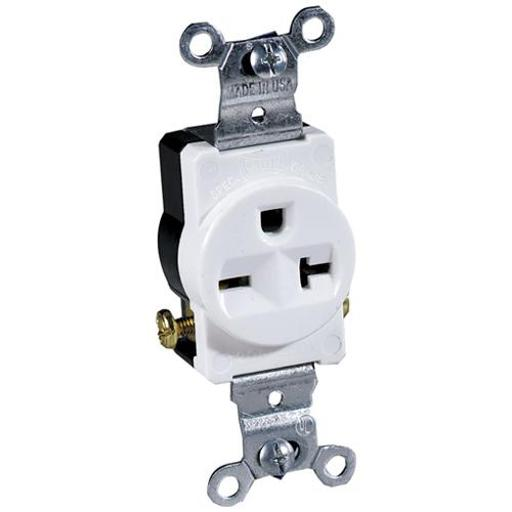 Cooper Wiring 1876w-box Commercial Grounding Single Receptacle, 250 Volt, White
