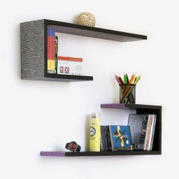 Glaring Zebra Stripes Crutch-Shaped Leather Bookshelf / Floating Shelf