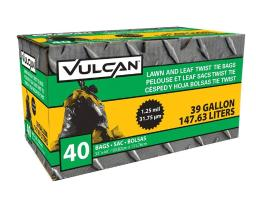 Vulcan Fg-03812-05 Heavy Duty Lawn And Leaf Bag With Ties, Black, 39 Gallon
