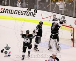 Drew Doughty, Jonathan Quick , & Colin Fraser Celebrate Winning Game 6 of the 2012 Stanley Cup Finals Sports Photo PFSAAOY14101