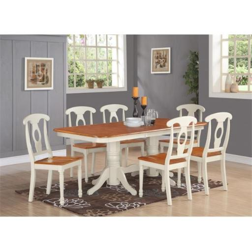 East West Furniture NAKE5-WHI-W 5 Piece Dining Table Set For 4-Dining Table With A Leaf and 4 Chairs For Dining