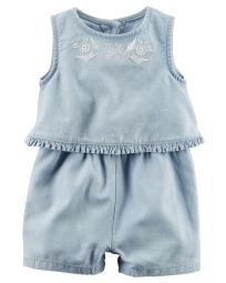 Carter's Baby Girls' Layered Chambray Romper, 9 Months