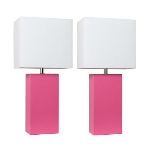 Elegant Designs LC2000-HPK-2PK Modern Leather Table Lamps, Hot Pink with White Fabric Shades - Pack of 2