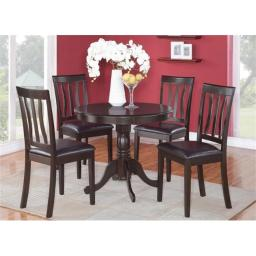 East West Furniture ANTI3-CAP-LC 3 -Piece Antique Round Kitchen 36 in. Table and 2 Chairs with Faux Leather seat