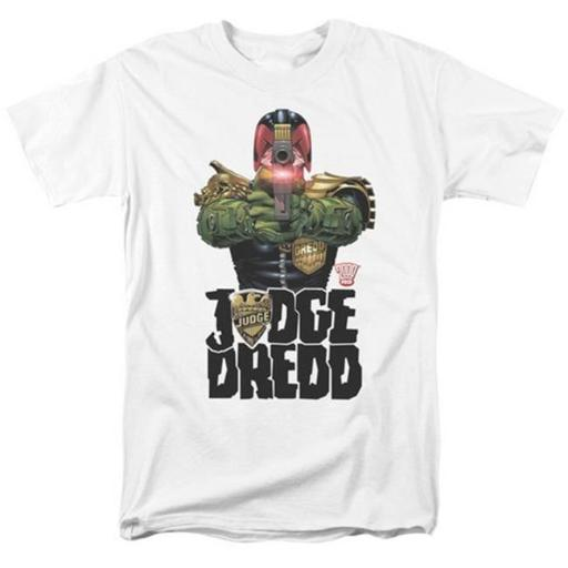 Trevco Judge Dredd-In My Sights Short Sleeve Adult 18-1 Tee, White - Large 0SFULPD5SVVOJ9B7