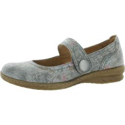 Comfortiva Womens Fabry Leather Floral Mary Janes