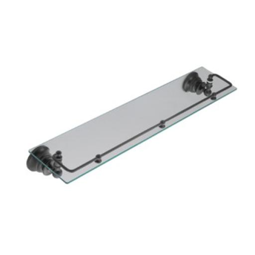 Moen YB9899WR Waterhill Glass Shelf with Pivoting Rail, Wrought Iron
