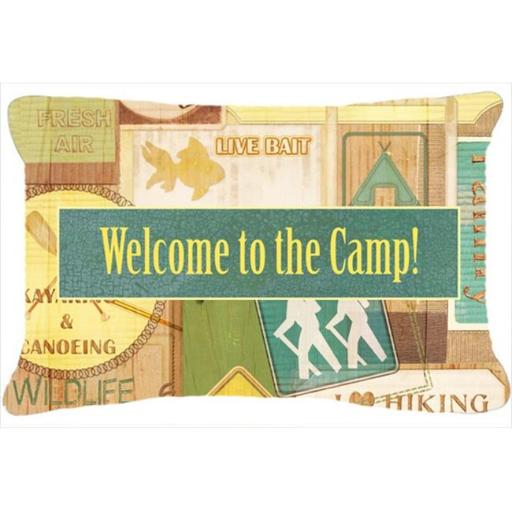 Carolines Treasures SB3080PW1216 Welcome To The Camp Indoor & Outdoor Fabric Decorative Pillow
