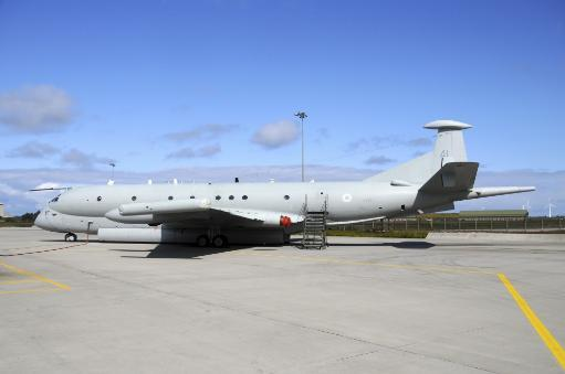 Hawker Siddeley Nimrod MR2 of the Royal Air Force taken on its base at RAF Kinloss, Scotland Poster Print