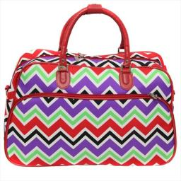 All-seasons 812014-170 21 In. New Age Zigzag Carry-on Shoulder Tote Duffel Bag, Red Trim