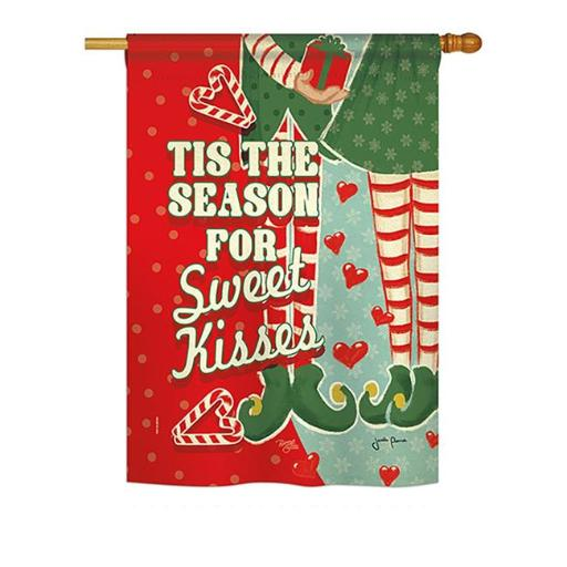 Breeze Decor BD-XM-H-114199-IP-BO-DS02-US Season Sweet Kisses Winter - Seasonal Christmas Impressions Decorative Vertical House Flag - 28 x 40 in.